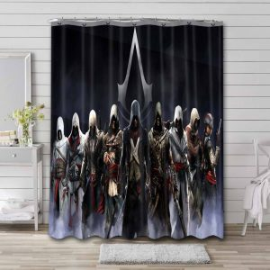 Assassin's Creed Characters Bathroom Shower Curtain Waterproof