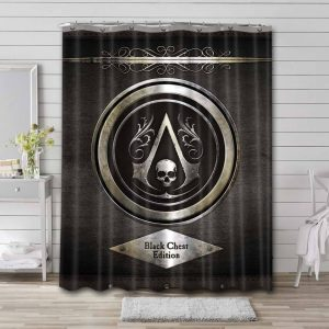 Assassin's Creed Black Chest Edition Waterproof Shower Curtain Bathroom