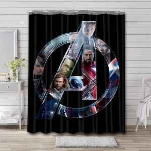 Avengers Symbol Shower Curtain Waterproof Polyester