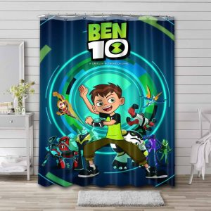 Ben 10 Characters Shower Curtain Bathroom Decoration