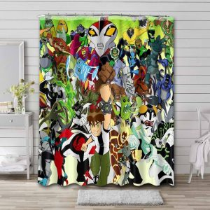 Ben 10 Characters Shower Curtain Waterproof Polyester