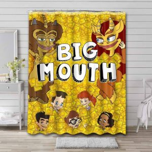 Big Mouth Cartoon Shower Curtain Waterproof Polyester