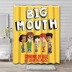 Big Mouth Shower Curtain Bathroom Decoration Waterproof Polyester Fabric.
