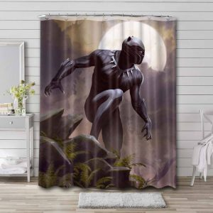 Black Panther T'challa Waterproof Curtain Bathroom Shower