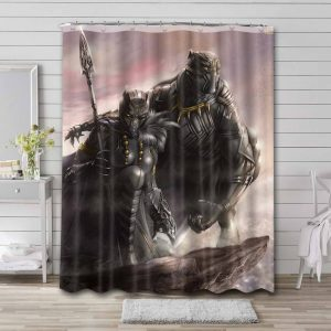 Black Panther T'challa Shower Curtain Bathroom Waterproof