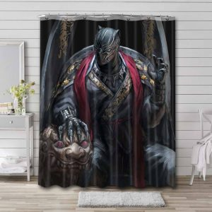 Black Panther Movie Shower Curtain Waterproof Polyester