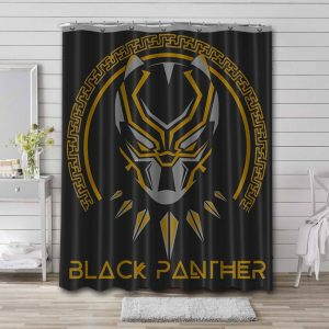 Black Panther Gold Helmet Shower Curtain Waterproof Polyester