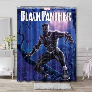 Black Panther T'challa Bathroom Curtain Shower Waterproof