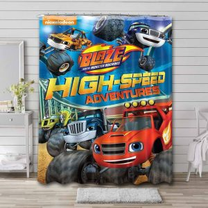 Blaze and the Monster Machines Characters Bathroom Shower Curtain Waterproof
