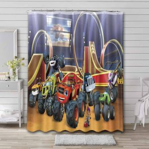 Blaze and the Monster Machines Characters Waterproof Shower Curtain Bathroom