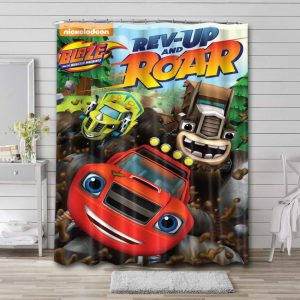 Blaze and the Monster Machines Rev-Up Roar Shower Curtain Waterproof Polyester