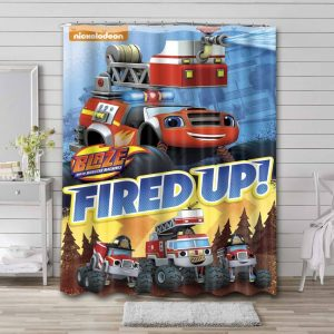Blaze and the Monster Machines Fired Up Bathroom Shower Curtain Waterproof