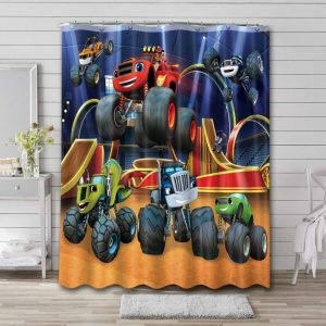 Blaze and the Monster Machines Characters Bathroom Curtain Shower Waterproof