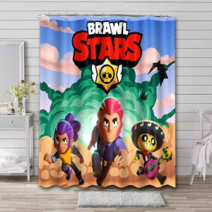 Brawl Stars Characters Shower Curtain Waterproof Polyester