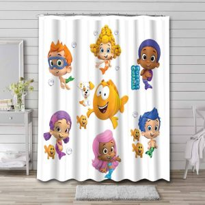 Bubble Guppies Characters Shower Curtain Waterproof Polyester