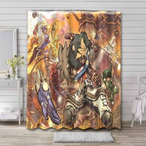 Cannon Busters Characters Bathroom Shower Curtain Waterproof