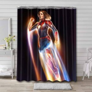 Captain Marvel Shower Curtain Waterproof Polyester