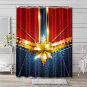 Captain Marvel Symbol Shower Curtain Waterproof Polyester