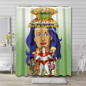 Captain Planet and the Planeteers Cartoon Shower Curtain Bathroom Waterproof