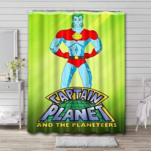 Captain Planet and the Planeteers Cartoon Shower Curtain Bathroom Decoration