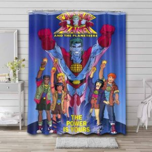 Captain Planet and the Planeteers Characters Bathroom Shower Curtain Waterproof