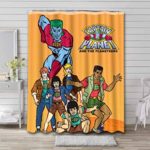Captain Planet and the Planeteers Characters Waterproof Shower Curtain Bathroom