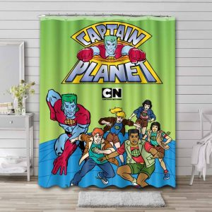 Captain Planet and the Planeteers Characters Bathroom Curtain Shower Waterproof