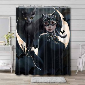 Catwoman Aesthetics Shower Curtain Waterproof Polyester