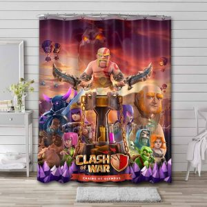 Clash of Clans Characters Bathroom Curtain Shower Waterproof
