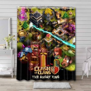Clash of Clans Characters Waterproof Curtain Bathroom Shower