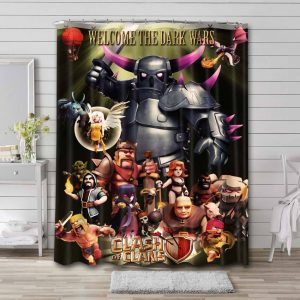 Clash of Clans Characters Shower Curtain Bathroom Waterproof