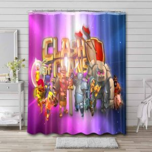 Clash of Clans Characters Shower Curtain Bathroom Decoration