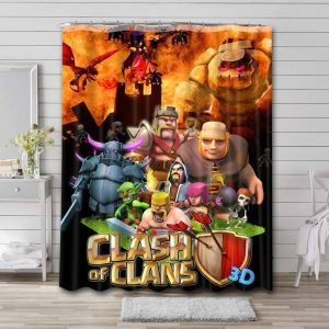 Clash of Clans Shower Curtain Bathroom Decoration Waterproof Polyester Fabric.