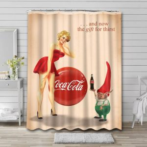 Coca Cola Vintage Poster Shower Curtain Waterproof Polyester