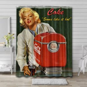 Coca Cola Old Poster Shower Curtain Waterproof Polyester