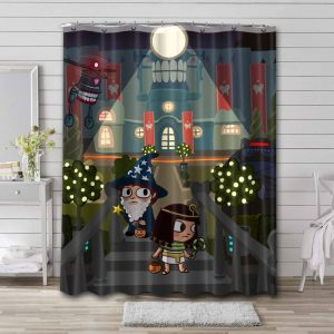 Costume Quest Shower Curtain Bathroom Decoration Waterproof Polyester Fabric.