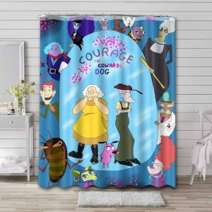Courage the Cowardly Dog Characters Shower Curtain Bathroom Waterproof