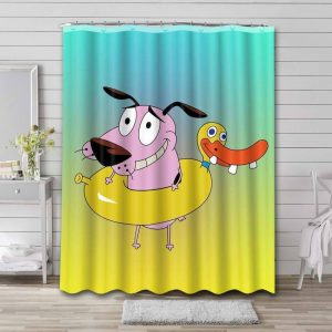 Courage the Cowardly Dog Bathroom Curtain Shower Waterproof
