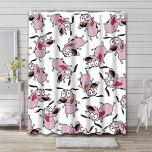 Courage the Cowardly Dog Pattern Shower Curtain Bathroom Decoration