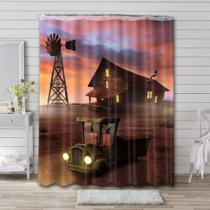 Courage the Cowardly Dog House Shower Curtain Waterproof Polyester