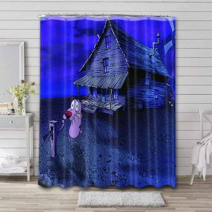 Courage the Cowardly Dog House Bathroom Shower Curtain Waterproof