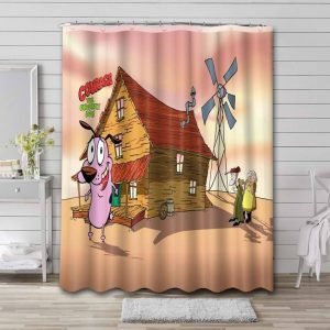 Courage the Cowardly Dog House Waterproof Shower Curtain Bathroom