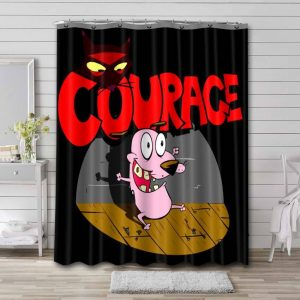 Courage the Cowardly Dog Shower Curtain Bathroom Decoration Waterproof Polyester Fabric.