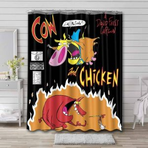 Cow and Chicken Cartoon Shower Curtain Waterproof Polyester