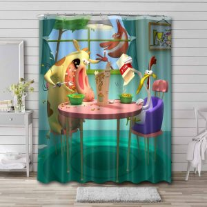 Cow and Chicken Waterproof Curtain Bathroom Shower