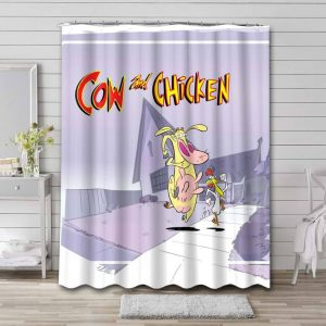 Cow and Chicken Shower Curtain Bathroom Waterproof