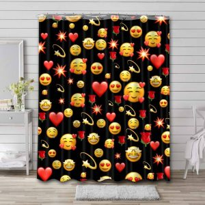Smiley Pattern Shower Curtain Waterproof Polyester