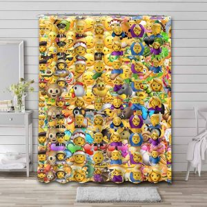 Smiley Shower Curtain Waterproof Polyester