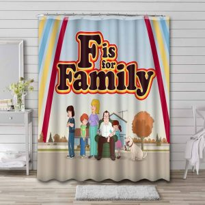 F Is for Family Waterproof Shower Curtain Bathroom