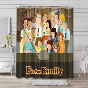 F Is for Family Characters Waterproof Shower Curtain Bathroom